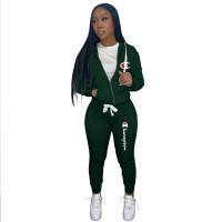 Autumn Winter Dark Green Drawstring Twill Sweatshirt Sports Printed Letter Hoodie Pant Set For Women