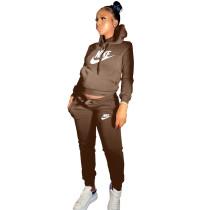 Winter Coffee Drawstring Sweatshirt Sports Hoodie Women Set with Pockets