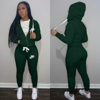 Casual Dark Green Drawstring Twill Sweatsuit Women Sets Sports Printed Letter Hoodie Tracksuit Set