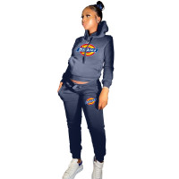 Winter Dark Blue Drawstring Sports Sweatshirt Hoodie Women Set with Pockets