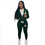 Casual Dark Green Drawstring Twill Women Sets Sports Printed Letter Hoodie Sweatsuit Set Tracksuit