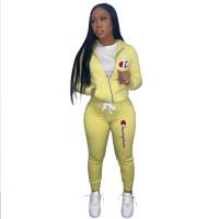 Autumn Winter Yellow Drawstring Twill Sweatshirt Sports Printed Letter Hoodie Pant Set For Women