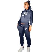 Winter Dark Blue Drawstring Sweatshirt Sports Hoodie Women Set with Pockets