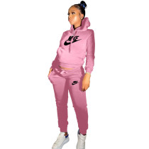 Winter Pink Drawstring Sweatshirt Sports Hoodie Women Set with Pockets