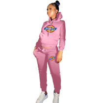 Winter Pink Drawstring Sports Sweatshirt Hoodie Women Set with Pockets
