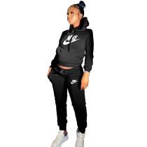 Winter Black Drawstring Sweatshirt Sports Hoodie Women Set with Pockets