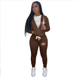 Casual Coffee Drawstring Twill Women Sets Sports Printed Letter Hoodie Sweatsuit Set Tracksuit