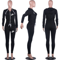 Casual Black Drawstring Twill Sweatsuit Women Sets Sports Printed Letter Hoodie Tracksuit Set