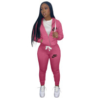 Casual Rose Drawstring Twill Sweatsuit Women Sets Sports Printed Letter Hoodie Tracksuit Set