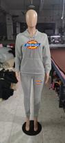 Winter Grey Drawstring Sports Sweatshirt Hoodie Women Set with Pockets