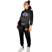 Winter Black Drawstring Sports Sweatshirt Hoodie Women Set with Pockets