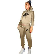 Winter Khaki Drawstring Sweatshirt Sports Hoodie Women Set with Pockets