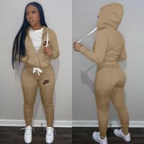 Casual Khaki Drawstring Twill Sweatsuit Women Sets Sports Printed Letter Hoodie Tracksuit Set
