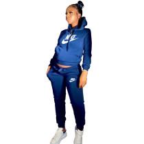 Winter Royal Blue Drawstring Sweatshirt Sports Hoodie Women Set with Pockets
