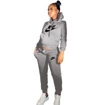Winter Grey Drawstring Sweatshirt Sports Hoodie Women Set with Pockets