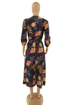 Casual Printed Willow Leaves Nightclub 3/4 Sleeve V Neck Long Dress with Belt