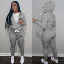 Casual Grey Drawstring Twill Sweatsuit Women Sets Sports Printed Letter Hoodie Tracksuit Set