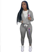 Autumn Winter Grey Drawstring Twill Sweatshirt Sports Printed Letter Hoodie Pant Set For Women