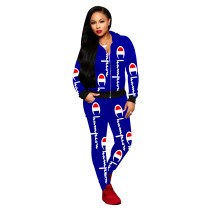 Casual Blue Printed Letter Hooded Pants Set For Woman Winter