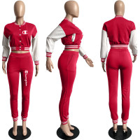 Casual Red Split Joint Buckle Long Sleeve Two Pieces Women's Printed Single-breasted Baseball Jacket Suit