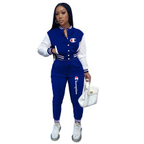 Casual Blue Split Joint Buckle Long Sleeve Two Pieces Women's Printed Single-breasted Baseball Jacket Suit