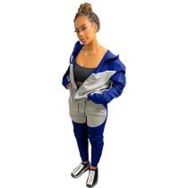 Casual Blue/Grey Women Clothing Stitching Zipper Hoodie Two Piece Sportswear Sets + Vacuum Packaging