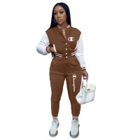 Casual Coffee Split Joint Buckle Long Sleeve Two Pieces Women's Printed Single-breasted Baseball Jacket Suit