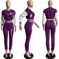 Casual Purple Split Joint Buckle Long Sleeve Two Pieces Women's Printed Single-breasted Baseball Jacket Suit