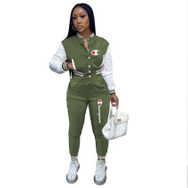 Casual Army Green Split Joint Buckle Long Sleeve Two Pieces Women's Printed Single-breasted Baseball Jacket Suit