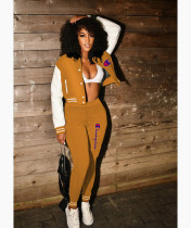 Casual Orange Split Joint Buckle Long Sleeve Two Pieces Women's Printed Single-breasted Baseball Jacket Suit