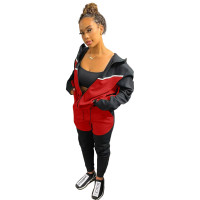 Casual Black/Red Women Clothing Stitching Zipper Hoodie Two Piece Sportswear Sets + Vacuum Packaging