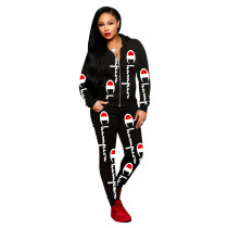 Casual Black Printed Letter Hooded Pants Set For Woman Winter