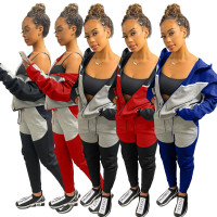 Casual Red/Grey Women Clothing Stitching Zipper Hoodie Two Piece Sportswear Sets + Vacuum Packaging