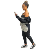 Casual Black/Grey Women Clothing Stitching Zipper Hoodie Two Piece Sportswear Sets + Vacuum Packaging