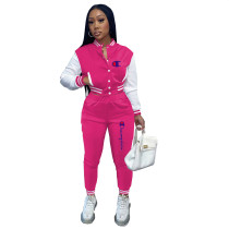 Casual Rose Split Joint Buckle Long Sleeve Two Pieces Women's Printed Single-breasted Baseball Jacket Suit