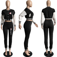 Casual Black Split Joint Buckle Long Sleeve Two Pieces Women's Printed Single-breasted Baseball Jacket Suit