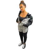 Casual Black/Grey Branded Clothing Embroidery Stitching Zipper Hoodie Two-piece Sportswear Sets + Vacuum Packaging