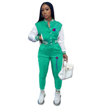 Casual Mint Green Split Joint Buckle Long Sleeve Two Pieces Women's Printed Single-breasted Baseball Jacket Suit