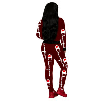 Casual Wine Red Printed Letter Hooded Pants Set For Woman Winter