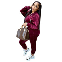 Solid Color Wine Red Zipper Gold Velvet Long Sleeve Loungewear Women Sets with Pockets