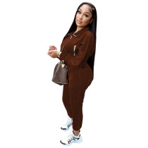 Solid Color Coffee Zipper Gold Velvet Long Sleeve Loungewear Women Sets with Pockets