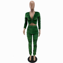 Solid Color Green Zipper Velvet Stacked Clothing Winter Pleated Women Pants Set