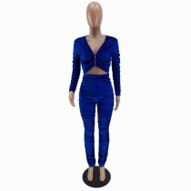 Solid Color Blue Zipper Velvet Stacked Clothing Winter Pleated Women Pants Set