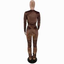 Solid Color Khaki Zipper Velvet Stacked Clothing Winter Pleated Women Pants Set