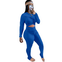 Solid Color Sexy Blue Cut-out Stacked One Piece Jumpsuits