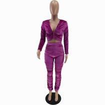Solid Color Rose Zipper Velvet Stacked Clothing Winter Pleated Women Pants Set
