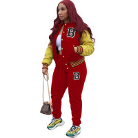 Red Air Layer Baseball Suit Buttons Printed Letter Two Piece Outfits