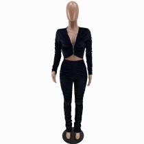 Solid Color Black Zipper Velvet Stacked Clothing Winter Pleated Women Pants Set