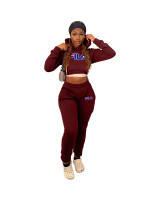 Winter Sports Long Sleeve Two Piece Wine Red Printed Bandage Sweatshirt Hooded Set For Women