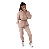 Women Winter Clothes Casual Khaki Thick Hooded Sweatpants Two Piece Outfits Set